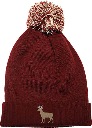 HippoWarehouse Deer Embroidered Beanie Hat with Bobble Maroon