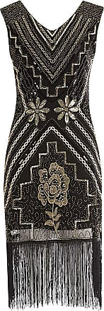 FNKDOR Gatsby Dress, Women 1920s Art Deco Sequin Paisley Flapper Tassel Glam Party Cocktail Dresses Black