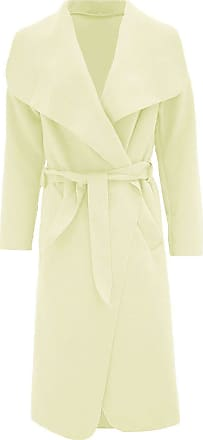 ZEE FASHION Women Italian Long Sleeve Ladies Belted Trench Waterfall Coat Long Jacket Cream