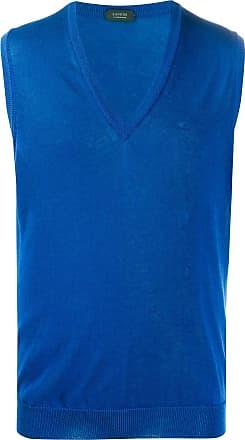 Zanone Regata de tricô sem mangas - Azul