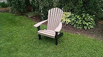 A & L Furniture A & L Furniture Poly Fanback Adirondack Chair with Black Frame, Weathered Wood