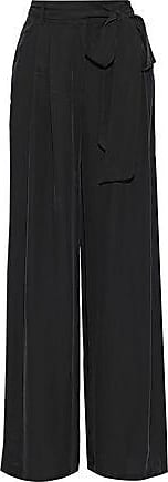 Milly Milly Woman Natalie Belted Crepe De Chine Wide-leg Pants Black Size 2