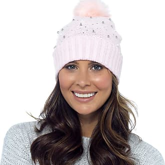 Foxbury Ladies Beaded Beanie Hat with Faux Fur Bobble Pink