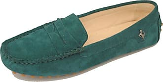 MGM-Joymod Ladies Womens Fashion Comfy Casual Slip-on Dark Green Suede Leather Walking Driving Loafers Flats Moccasins Hiking Shoes 4.5 M UK