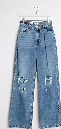 Bershka 90s straight leg jeans with rips in blue