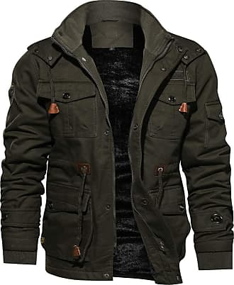 QUINTRA Winter Coats for Men Mens Winter Cashmere Thickened Pocket Cotton Coat Outwear Breathable Coat Army Green