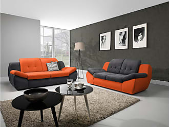 Stylefy Lolla Polstergarnitur Velours Grau I Orange