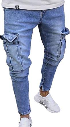 junkai Men Ripped Skinny Biker Jeans Frayed Slim Fit Cargo Combat Denim Jeans Pants Light Blue 2XL