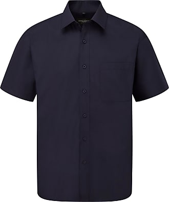 Russell Athletic Russell Collection Mens Short Sleeve Poly-Cotton Easy Care Poplin Shirt (18) (French Navy)