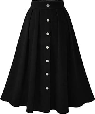 QIYUN.Z Womens Vintage Pleated Button Down A-line Swing Skirt Black XL
