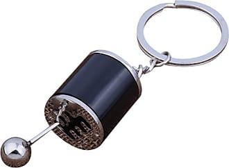 QUINTRA Gear Knob Gear Shift Gear Stick Gear Box Metal Key Chain Keyfob Car Keyring Gift (Black)