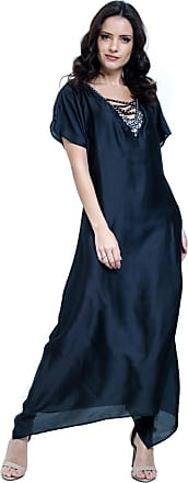 549f528b7 101 Resort Wear Vestido 101 Resort Wear Kaftan decote V Longuete Cetim Preto