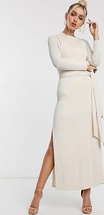 Significant Other Sabine - Lange sierlijke jurk met strikceintuur in crème