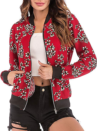EmilyLe Womens Floral Print Bomber Jacket Long Sleeve Zipper Baseball Casual Outwear Fashion Tops (M, Petal Red)
