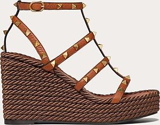 Valentino Garavani Valentino Garavani Rockstud Cowhide Ankle Strap Wedge Sandal 95 Mm Women Tan 38