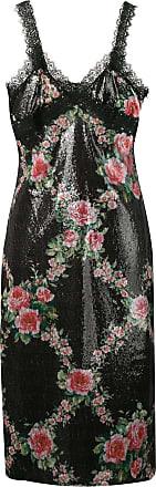 Blumarine Vestido com detalhe de renda - Preto