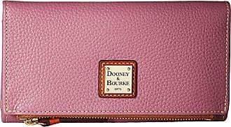 Dooney & Bourke Pebble Fold-Over Wallet (Dark Mauve/Tan Trim) Wallet Handbags