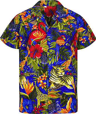 V.H.O. Funky Hawaiian Shirt, Shortsleeve, Jungle, Turquoise, 4XL