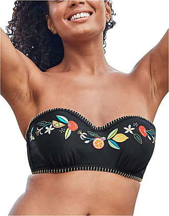 Figleaves Womens Seville Underwired Embroidered Black Bandeau Strapless Bikini Top Size 38E in Black/Citrus Fruits