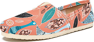 Tizorax Slip on Loafer Shoes for Women Abstract Birds with Leaves Comfortable Casual Canvas Flat Boat Shoe