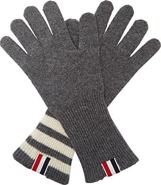 Thom Browne Tricolor Striped-cuff Gloves - Mens - Grey