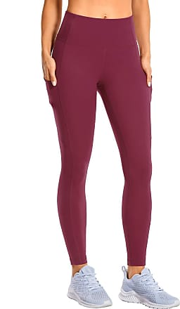 CRZ YOGA Womens Matte Brushed Light-Fleece Yoga Pants with Pocket Squat Proof Workout Leggings-28 inches Hazy Purple 10