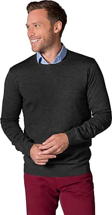 WoolOvers Mens New Merino Crew Neck Knitted Jumper Charcoal, XL