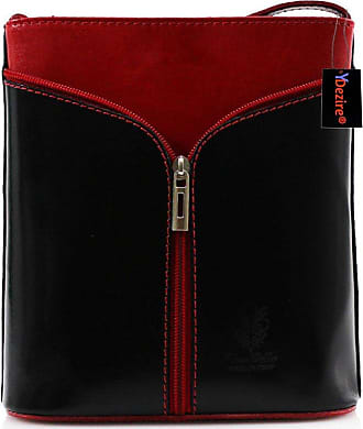 Your Dezire Womens Designer Real Leather Cross Body Bag Ladies Shoulder Handbag New (Black-Red)