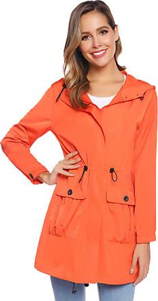 Abollria Womens Outdoor Waterproof Lightweight Windbreaker Raincoat Hooded Rain Jacket Orange