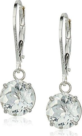 Amazon Collection Sterling Silver Round Checkerboard Cut White Topaz Leverback Earrings (8mm)