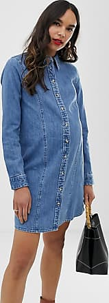 4224b52c3b9 Asos Maternity ASOS DESIGN Maternity denim fitted western shirt dress in midwash  blue