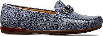 Van Dal Womens Bliss Wide E Fit Leather Loafers, Antique Blue Crackle Print, Size 38 EU