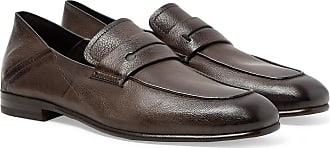 Ermenegildo Zegna Lasola Collapsible-heel Textured-leather Penny Loafers - Dark brown