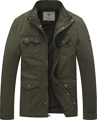 WenVen Mens Casual Cotton Jackets Military Green X-Large