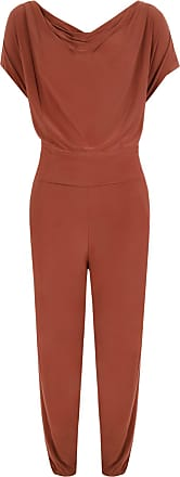 WearAll Plus Size Womens Cowl Neck Pocket Belted Ladies Sleevelsss Jumpsuit - Rust - 18