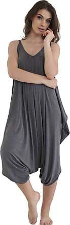 ZEE FASHION Ladies Womens Plain Ali Baba Harem Suit Cami Strappy Lagenlook Dress Oversized All in One Jumpsuit Charcoal