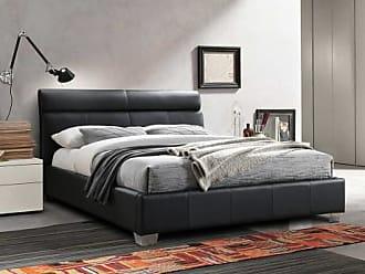 Vente-unique.ch Bett WANDA - 160x200cm - Büffelleder - Schwarz