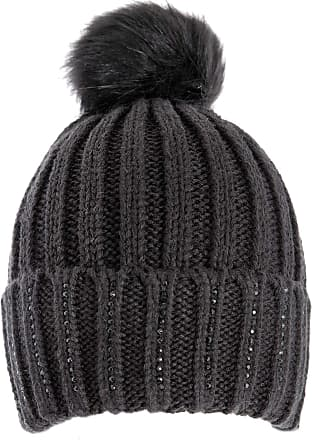 Dents Black Rib Knitted Hat with Pom Pom & Beaded Finish One Size