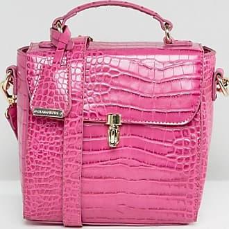 Glamorous Umhängetasche in Krokodillederoptik in Pink-Rosa