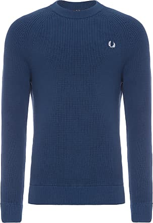 Fred Perry BLUSA MASCULINA RIBBED CREW NECK JUMPER - AZUL