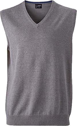 James & Nicholson Classical Mens Sleeveless Cotton Sweater - XL - Grey-Heather