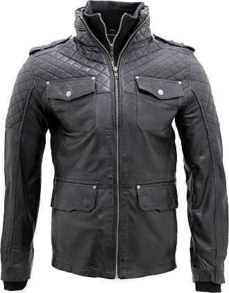 Infinity Mens Casual 100% Sheepskin Black Nappa Leather Quilted Jacket 4XL