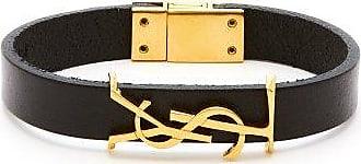 Saint Laurent Ysl Monogram-plaque Leather Bracelet - Mens - Black