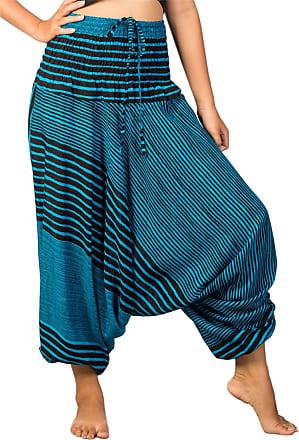 Lofbaz Womens Stripe Printed Smocked Waist Harem 2 in 1 Jumpsuit Pants Light Blue S