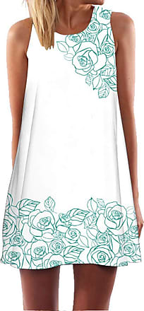 Ocean Plus Womens Summer Casual Top Flamingo A-Line Sleeveless Dresses Leaves Cover-up Western Without Sleeves Beach Dress Party Dress (XL (UK 14-16), Rose on Wh