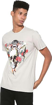 Gangster Camiseta Gangster Estampada Bege