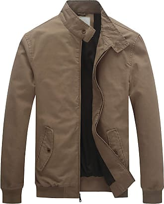 WenVen Mens Casual Stand Collar Zipped Jacket Khaki Large