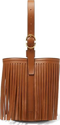 Trademark Fringed Leather Bucket Bag - Tan