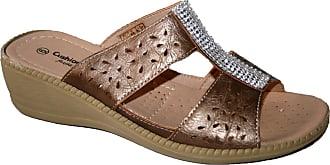 Cushion-Walk Ladies Summer Slip ON Mule with Diamante Trim (UK6, Bronze Diamante)