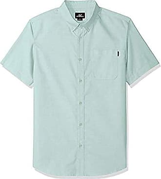 O'Neill Mens Casual Modern Fit Short Sleeve Woven Button Down Shirt, Teal/Banks, L